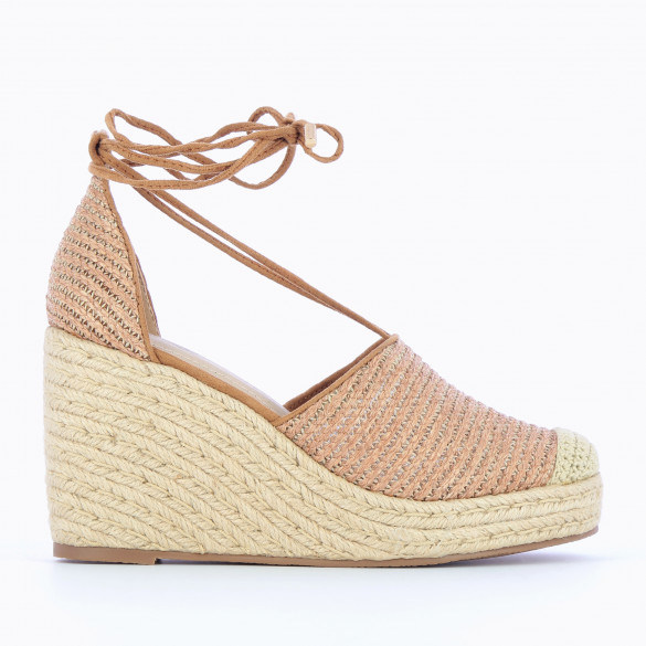 Camel wedges in woven raffia reinforced toe beige with straps and rope heel woman Vanessa Wu