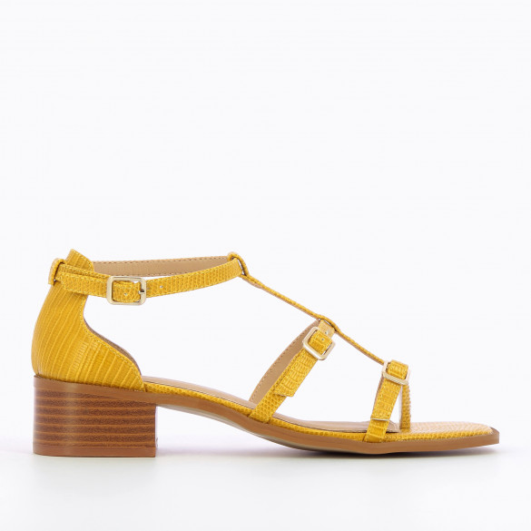 Safran yellow sandals with small heel wood effect woman Vanessa Wu with fine straps snakeskin effect