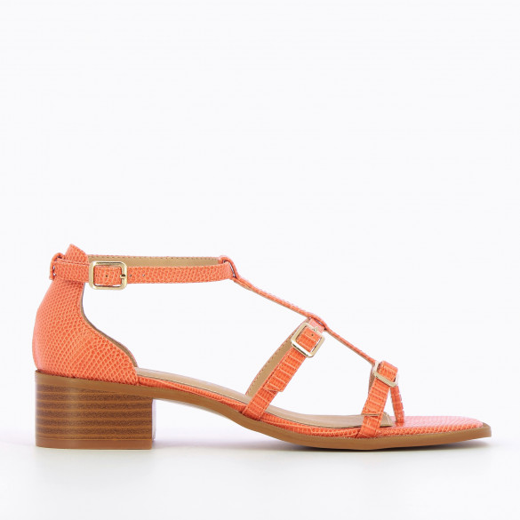 Coral sandals small block heel wood effect and fine straps snakeskin effect woman Vanessa Wu