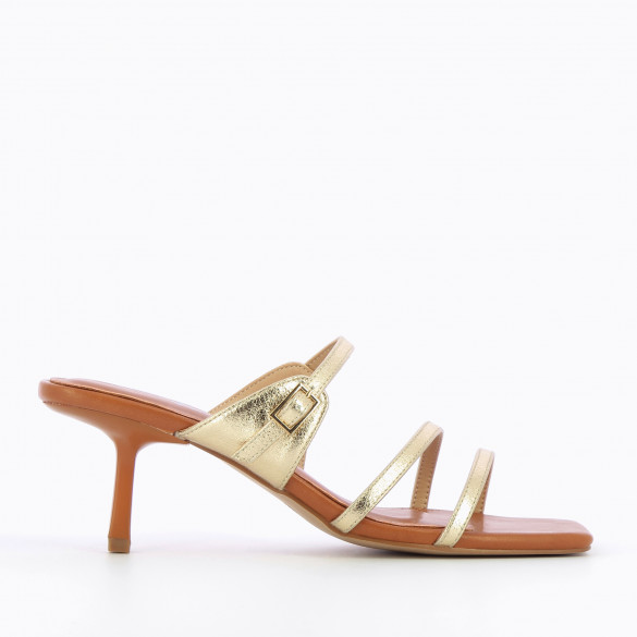 Camel mules with fine straps gold textured square toe and kitten heel woman Vanessa Wu