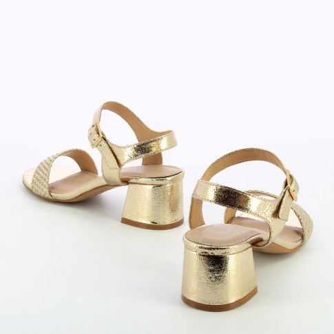 Gold sandals with block heel and woven strap