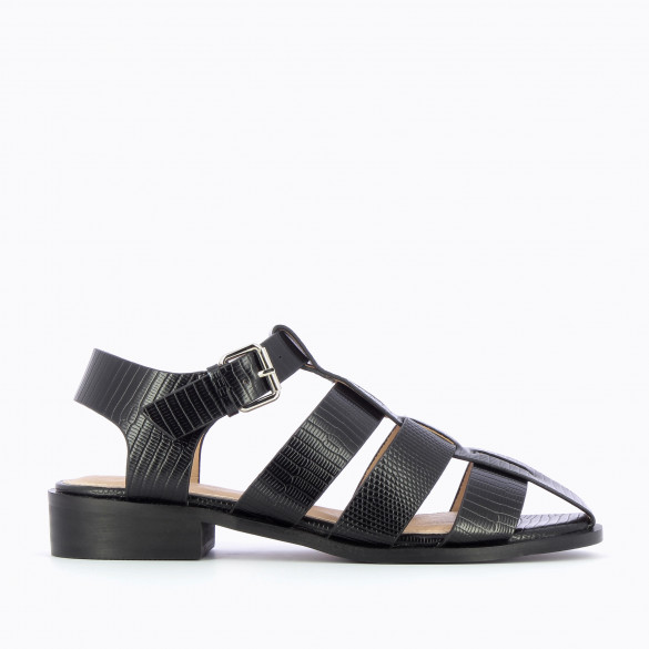 flat sandals fisherman style urban black faux leather snakeskin effect woman Vanessa Wu