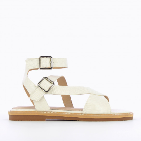 flat white sandals snakeskin effect with high crossed straps thick sole woman Vanessa Wu