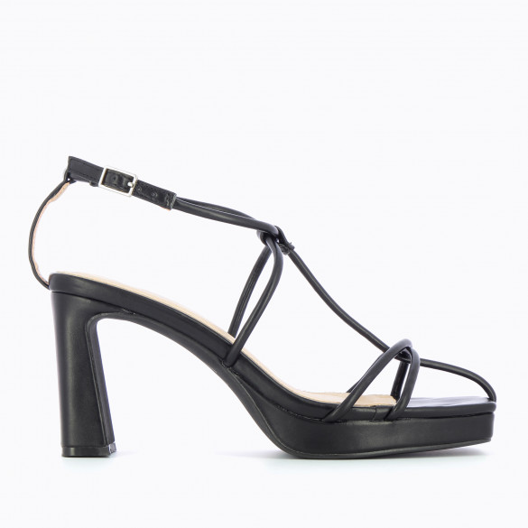 Black sandals nineties with heel and platform with fine crossed straps woman Vanessa Wu square toe