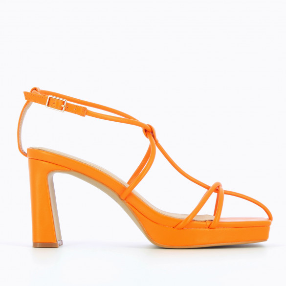 Orange sandals with heel nineties with platform and fine crossed straps woman Vanessa Wu square toe