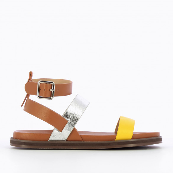 Flat sandals camel with straps silver and yellow thick sole woman Vanessa Wu