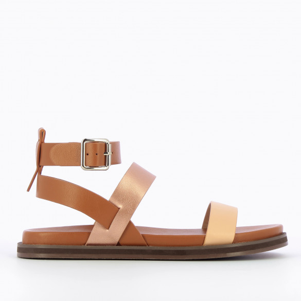 Flat sandals camel with straps beige and rose gold woman Vanessa Wu thick black sole