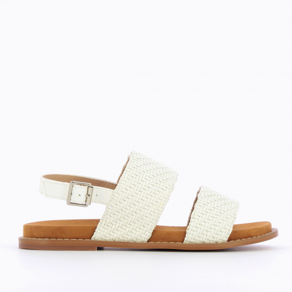 Flat white sandals with thick straps braided sole camel suedette woman Vanessa Wu