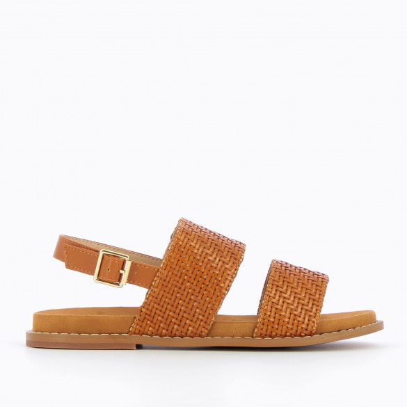 Camel flat sandals woman Vanessa Wu with large woven straps and thick sole