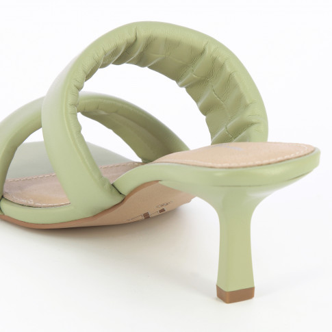 Light jade green mules with padded straps