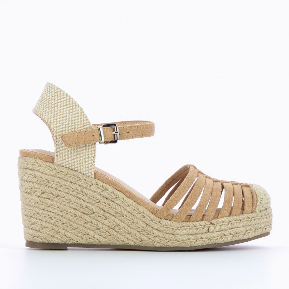 dark beige wedges openwork with heel braided rope woman Vanessa Wu and ankle strap