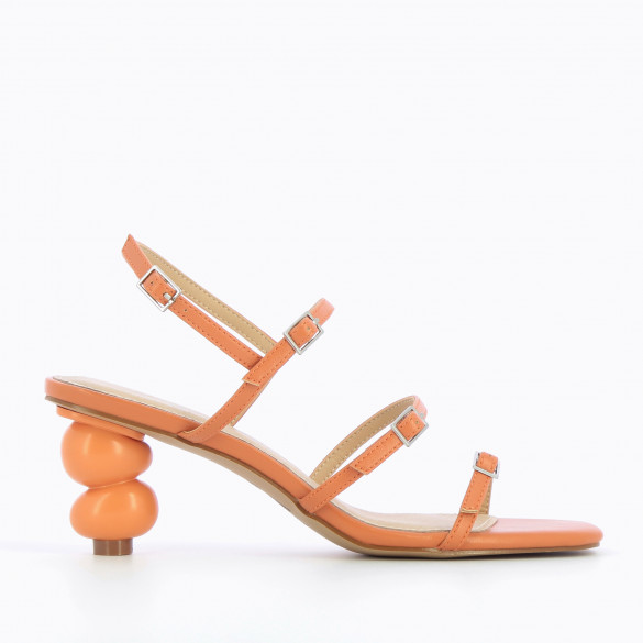 minimalist sandals apricot orange with sculpted ball heel and fine straps woman Vanessa Wu square toe