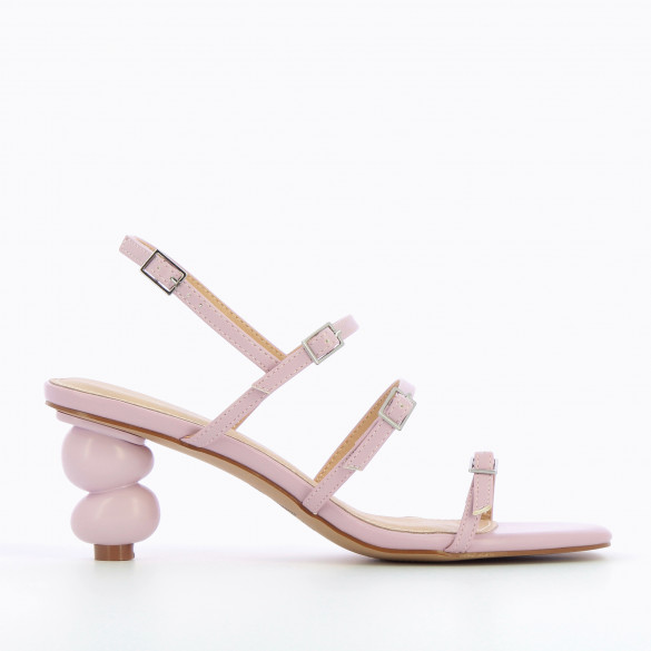 pastel lilac minimalist sandals with sculpted ball heel and fine straps woman Vanessa Wu square toe