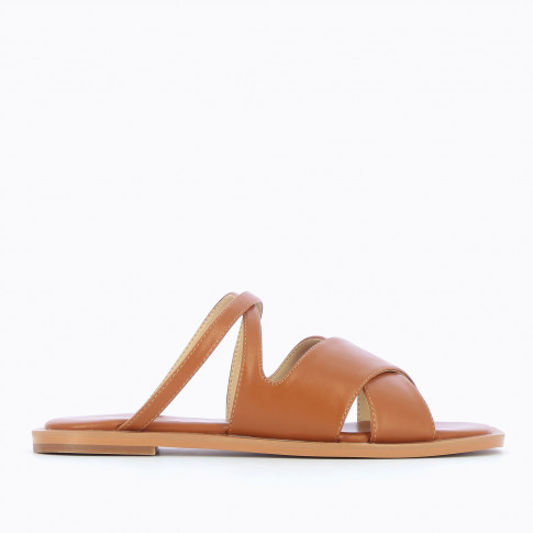 Camel flat mules with crossed straps