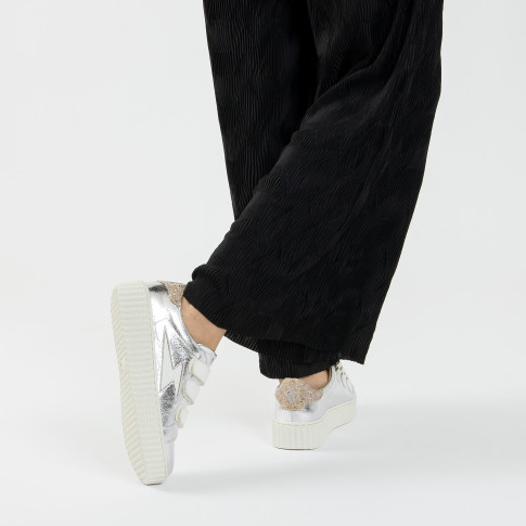 Silver lightning sneakers with white velcro