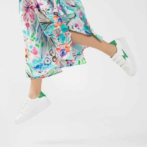 White lightning sneakers with mint crocodile details