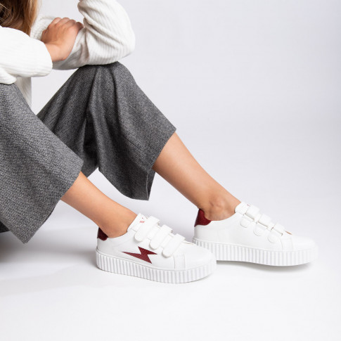 White lightning sneakers with wine red snakeskin details