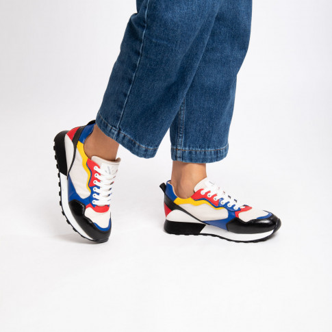 Black and blue track sole sneakers