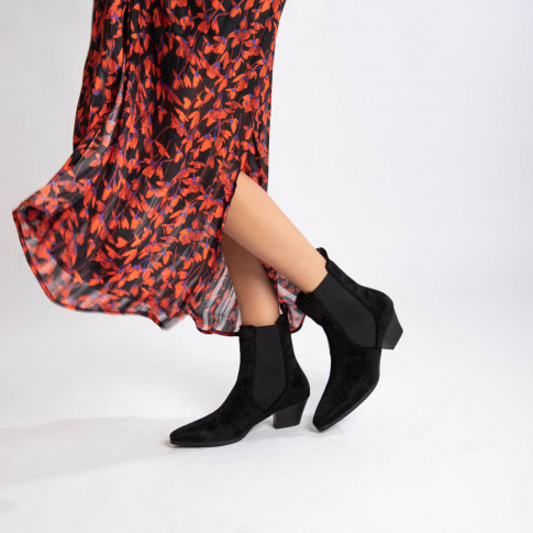 Black pony hair cowboy ankle boots